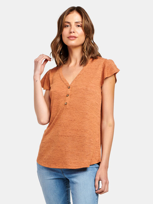 Milly Button Front Tee, Red, hi-res