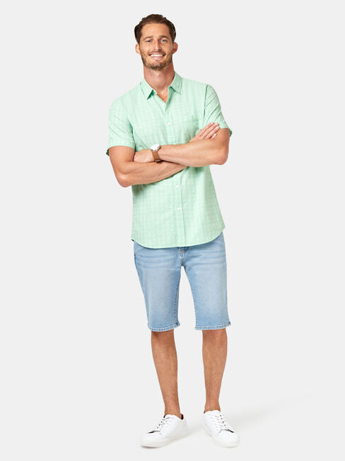 Leon Short Sleeve Textured Shirt, Green, hi-res