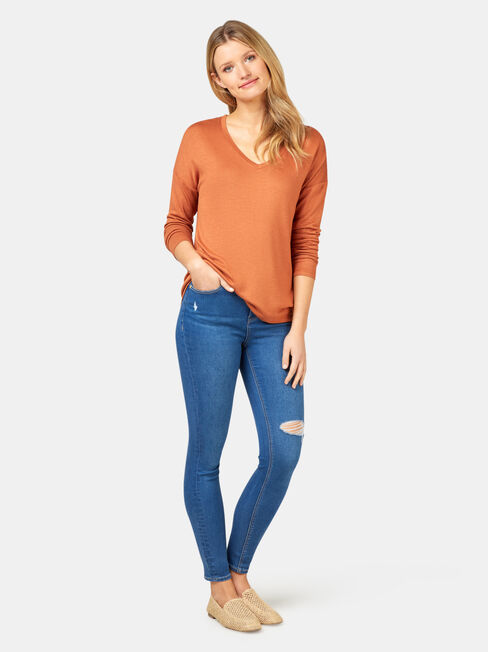 Alice Soft Touch V-Neck Pullover, Brown, hi-res