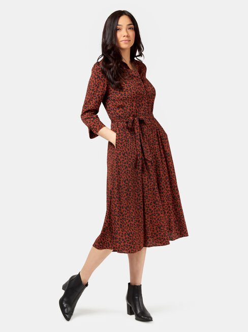 Mishy Midi Shirt Dress, Brown, hi-res