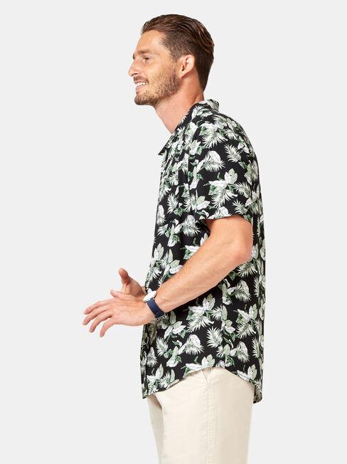 Fox Short Sleeve Print Shirt, Black, hi-res