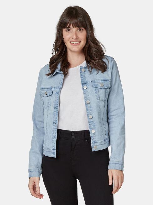 Classic Stretch Denim Jacket, Blue, hi-res