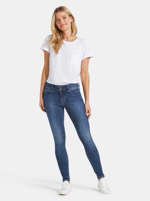 Hip Hugger Skinny jeans Mid Vintage, Mid Indigo, hi-res