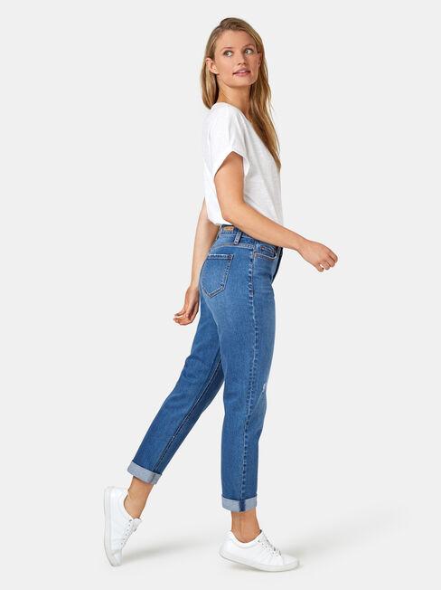 Boyfriend Jeans, Mid Indigo, hi-res