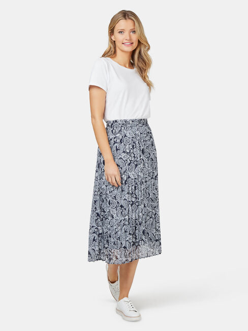 Penny Pleated Skirt, Print, hi-res