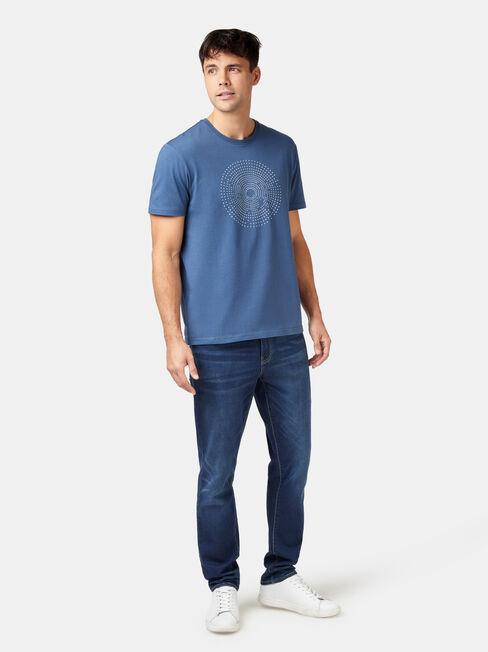 Harris Short Sleeve Print Crew Tee, Blue, hi-res