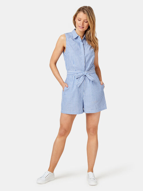 Petal Sleeveless Playsuit, Stripe, hi-res