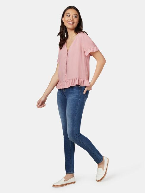 Natasha Button Through Top, Pink, hi-res
