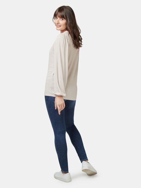 Leah Textured Top, White, hi-res