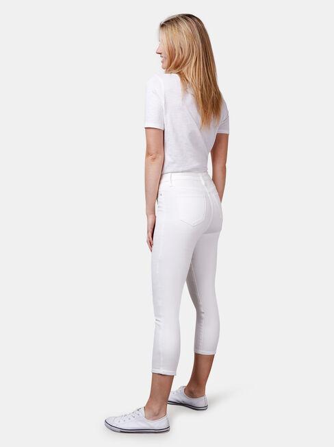 Kara Mid Waist Skinny Capri White