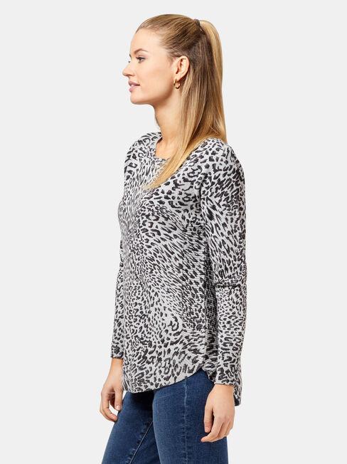 Leo Leopard Curve Hem Pullover, Grey, hi-res