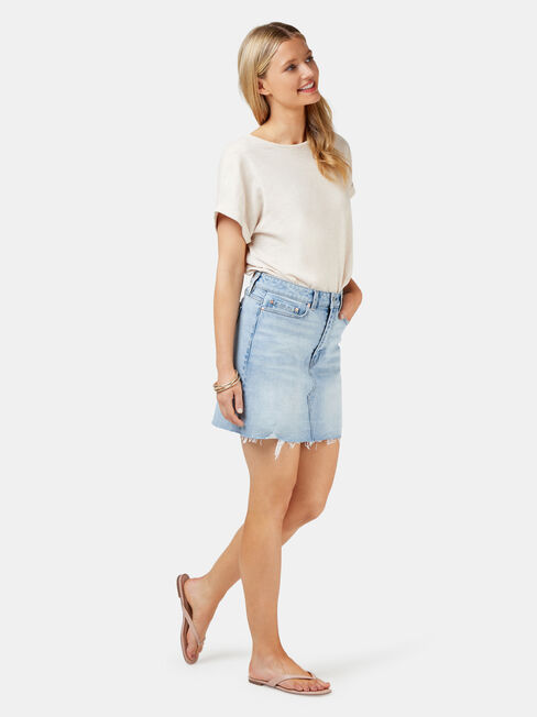 Simone Distressed Denim Skirt, White, hi-res