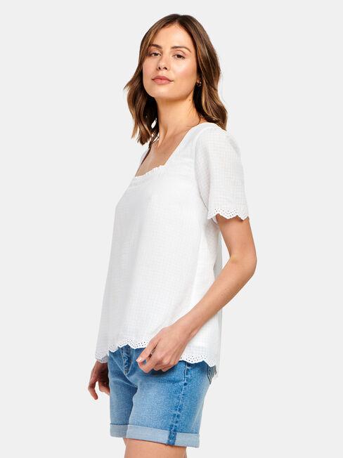 Sara Square Neck Textured Top, White, hi-res