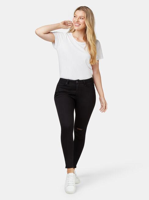 Isabelle Distressed Curve Embracer Skinny 7/8th, Black, hi-res