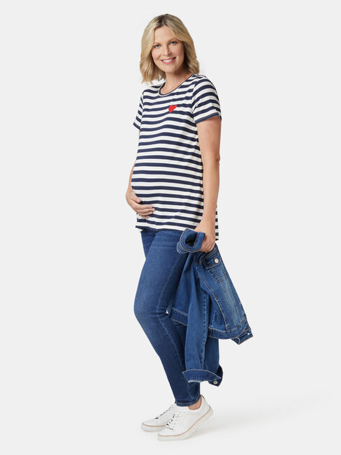Christina Heart Maternity Tee, Stripe, hi-res