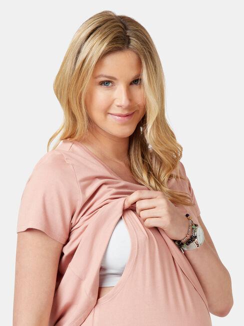 Cerese Layered Maternity Top, Pink, hi-res