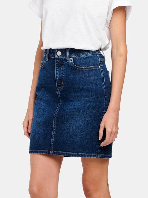 Mariah Classic Denim Skirt, Mid Indigo, hi-res