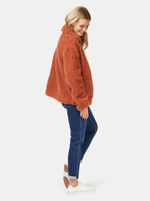 Beccy Teddy Jacket, Brown, hi-res