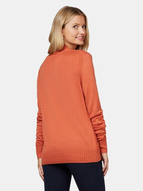 Kara Essential Funnel Neck Pullover, Orange, hi-res