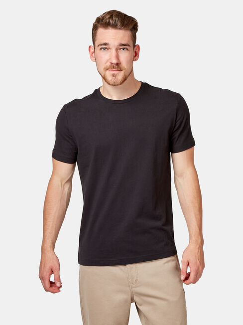 Basic Short Sleeve Tee, Black, hi-res