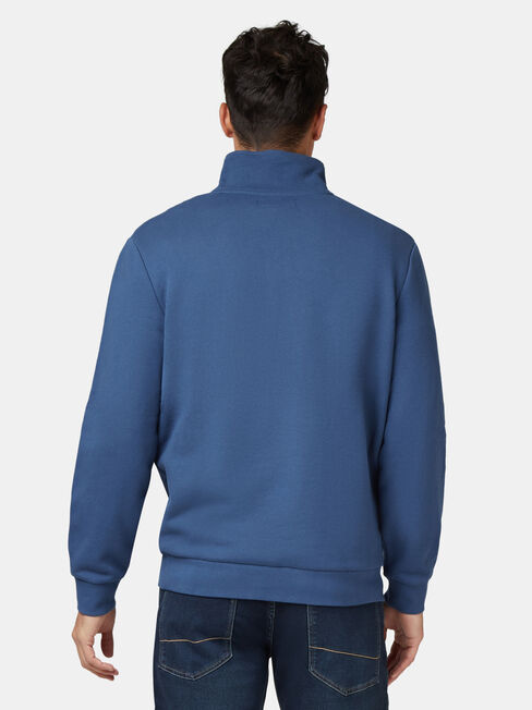 Butler Zip Neck Sweat, Blue, hi-res