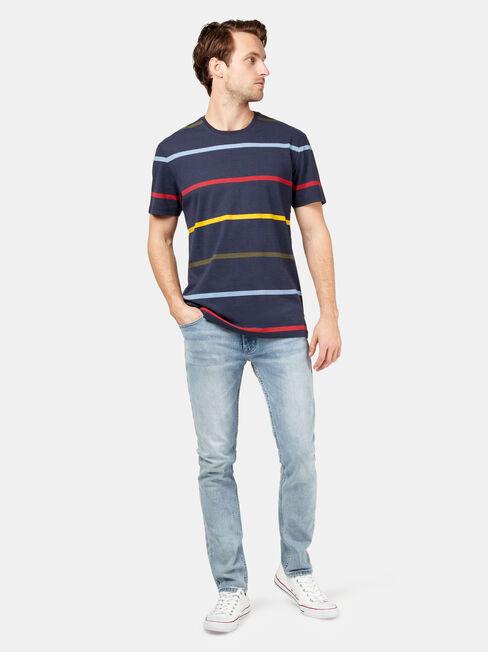 Laine Short Sleeve Print Stripe Crew Tee, Blue, hi-res