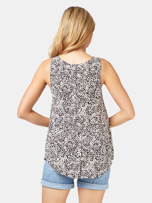 Charlie Button Back Tank, Grey, hi-res