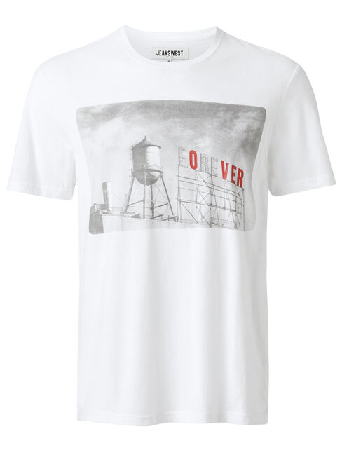 SS Taylor Print Crew Tee, White, hi-res