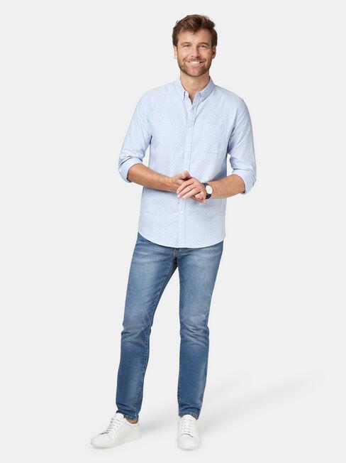 Elliot Long Sleeve Oxford Shirt, Blue, hi-res
