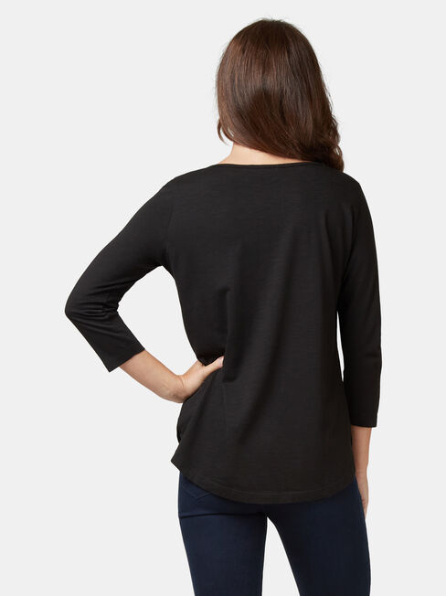 Essential Boatneck Tee, Black, hi-res