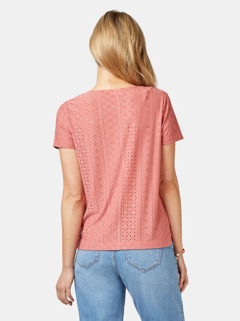 Maddison Lace Tee, Red, hi-res