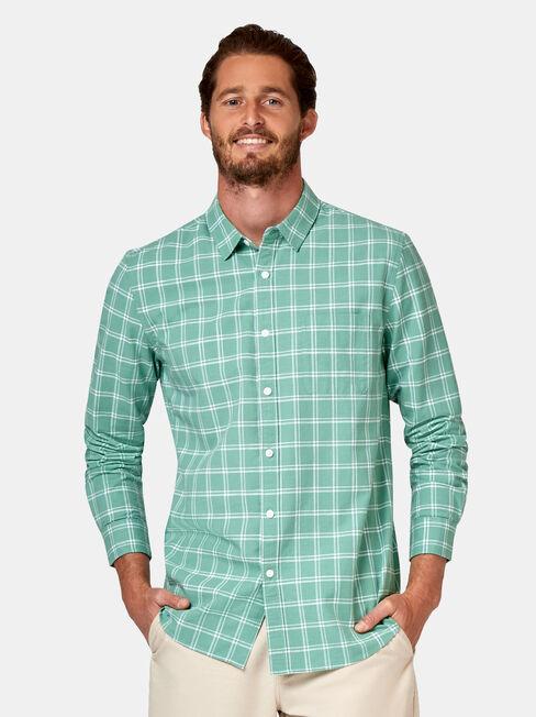 Cooper Long Sleeve Check Shirt, White, hi-res