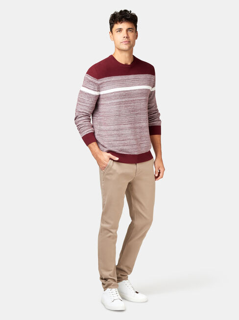 Grant Block Stripe Crew Knit, Red, hi-res
