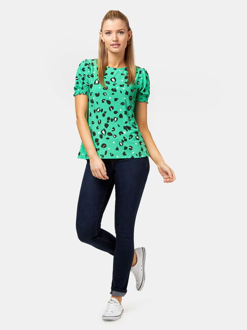 Penny Shirred Sleeve Top, Green, hi-res