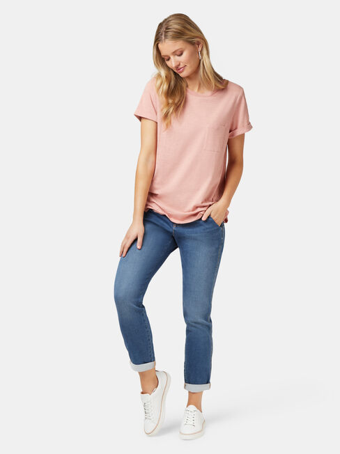 Relaxed Pocket Slub Tee, Pink, hi-res