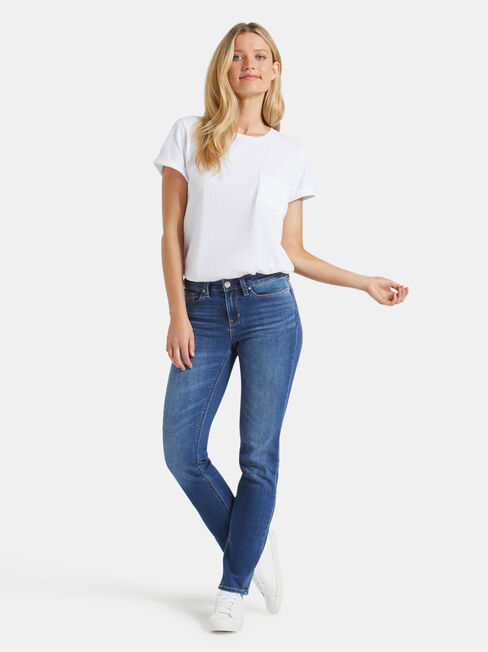 Slim Straight Jeans Lake Blue, Mid Indigo, hi-res