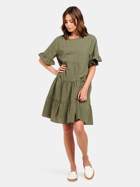 Julia Tiered Kaftan Dress, Green, hi-res