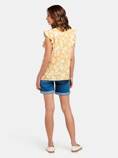 Penelope Flutter Slv Top, Yellow, hi-res