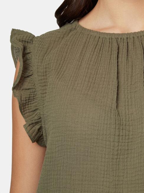 Frida Textured Frill Sleeve Top, Green, hi-res