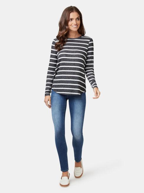 Maddie Soft Touch Curve Hem Pullover, Stripe, hi-res