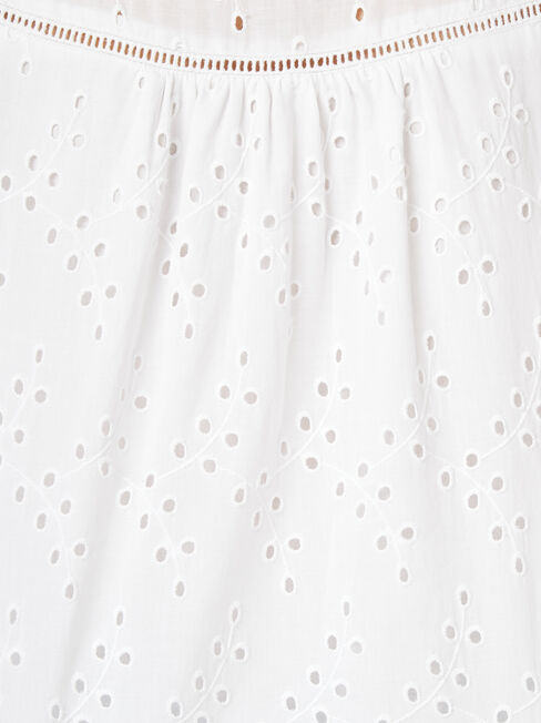 Gianna Broderie Top, White, hi-res
