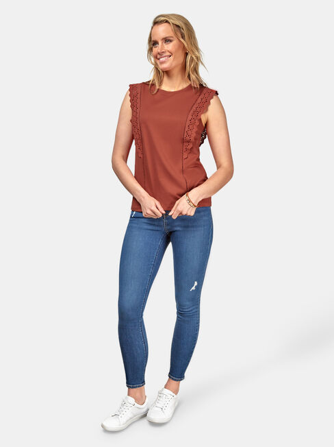 Teagan Broderie Tank, Orange, hi-res