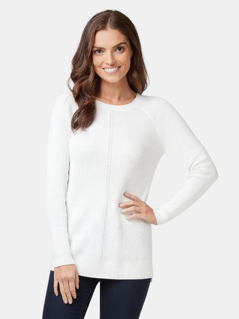 Catalina Chevron Pullover, White, hi-res
