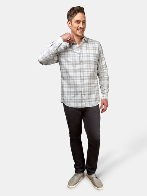 Tate Long Sleeve Check Shirt, Grey, hi-res