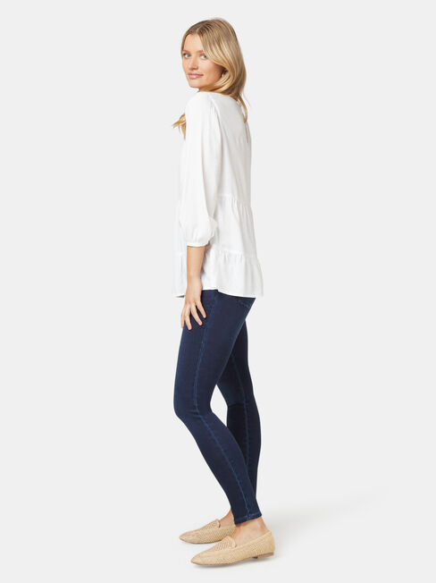 Olivia Long Sleeve Tiered Top, White, hi-res
