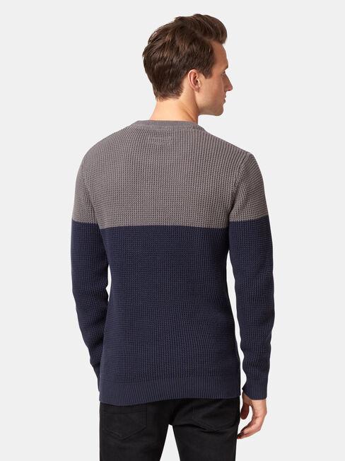 Mitch Textured Block Knit, Blue, hi-res