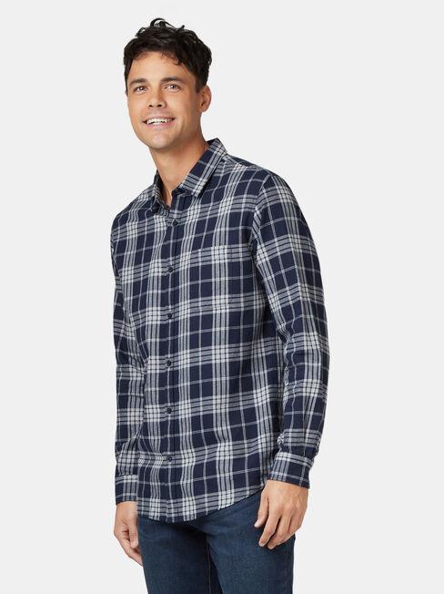 LS Jack Brushed Check Shirt, Blue, hi-res
