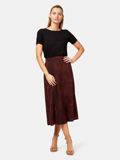 Lulu Printed Midi Skirt, Orange, hi-res
