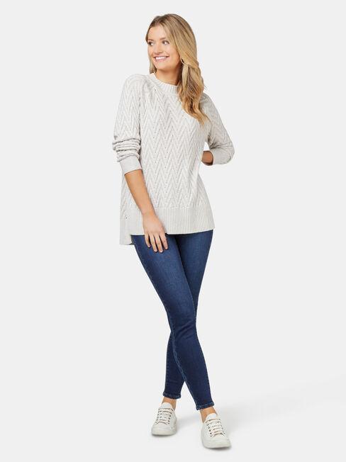 Juno Cable Knit, Brown, hi-res