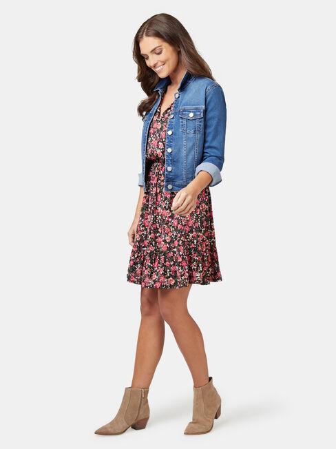 Steffie Shirred Waist Dress, Floral, hi-res